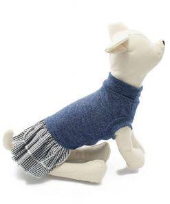 Vestido Perro Camiseta Azul Falda Cuadros Negra Blanca Ropa Perros Primavera (1)