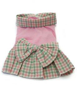 Vestido Perro Cuadros Rosa Verde Lazo Ropa Perros Primavera Verano (2)