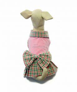 Vestido Perro Cuadros Rosa Verde Lazo Ropa Perros Primavera Verano (3)