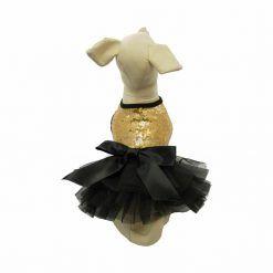 Vestido Perro Lujo Fiesta Negro Lazo Dorado Lentejuelas Ropa Perros (2)