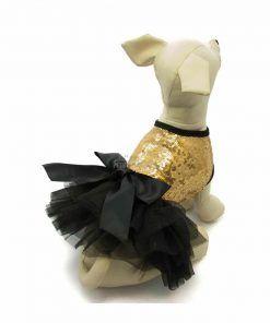 Vestido Perro Lujo Fiesta Negro Lazo Dorado Lentejuelas Ropa Perros (3)