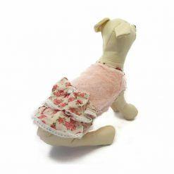 Vestido Perro Rosa Ovejita Falda Flores Beige Ropa Perros Primavera Invierno (1)