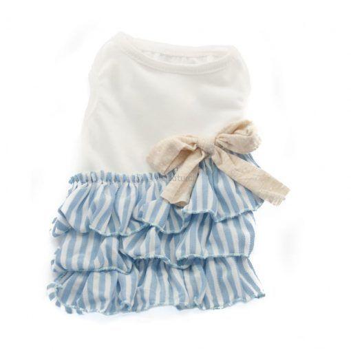 Vestido para perros pequeños Azul Blanco Rayas Elegante Primavera Pasear