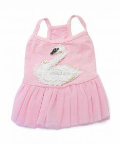 Vestido Rosa Perra Cisne Blanco Falda Tutu Primavera Verano (2)