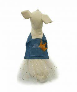 Vestido Vaquero Corona Falda Tutu Blanca Estrellas Ropa Perros Primavera (2)