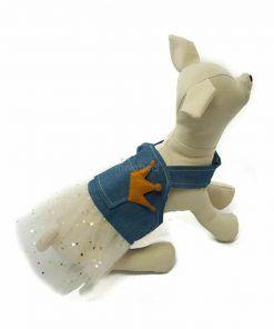Vestido Vaquero Corona Falda Tutu Blanca Estrellas Ropa Perros Primavera (3)