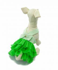 Vestido Verde Perra Tirantes Lazo Espalda Rayas Falda Verde Tutu Verano Primaver (1)