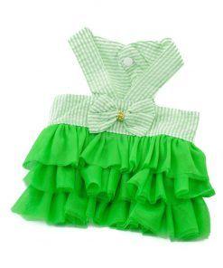 Vestido Verde Perra Tirantes Lazo Espalda Rayas Falda Verde Tutu Verano Primaver (2)